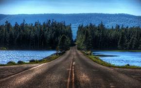 Обои Лес, дорога, озеро, переправа, блюр