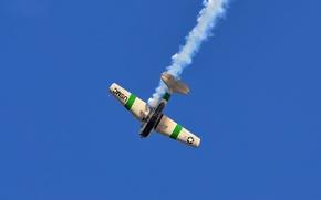 Обои самолет, дым, небо, полет, North American T-6G Texan PR-TIK