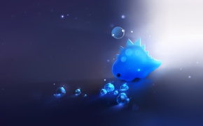 Обои свет, синий, динозавр, арт, кристаллы, пузырь, сердечко, apofiss