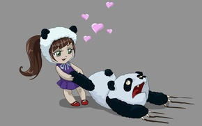 Картинка любовь, медведь, арт, панда, девочка, сердечки, ужас, бедная панда