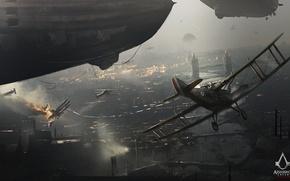 Картинка город, самолет, лондон, дирижабль, art, ubisoft, Assassin's Creed, assassin, Syndicate, Assassin's Creed: Syndicate