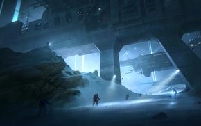 Картинка зима, ночь, огни, надпись, корабли, порт, метель, добро пожаловать в 2010