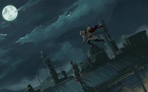Обои assassin's creed, ассасин, тихое убийство, крыши, арт