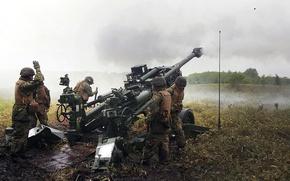 Картинка оружие, война, солдаты, гаубица