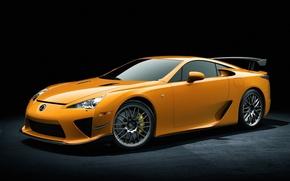 Обои машины, widescreen, cars, yellow, lexus lfa, жёлтый лексус