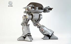 Обои робот, фантастика, RoboCop, фильм, Enforcement Droid Series 209, ED-209, оружие, Craig Davies, рендеринг, OCP, 3DPORTFOLIO