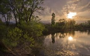 Картинка солнце, лучи, деревья, тучи, озеро, спокойствие, вечер