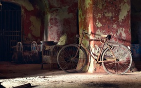Картинка свет, велосипед, комната