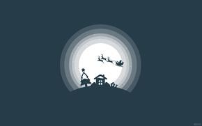Картинка Дизайн, Ночь, Собака, Звезды, Снег, Луна, Дом, Полет, Свет, Окно, Силуэт, Домик, Кусты, Снежинки, Новый ...