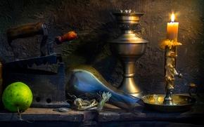 Картинка старина, лампа, яблоко, свеча, монеты, воск, утюг