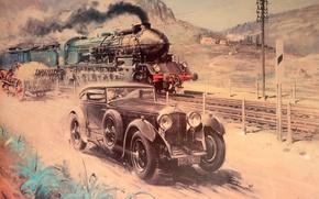 Картинка Bentley, Рисунок, Поезд, Автомобиль, Живопись, Terence Cuneo