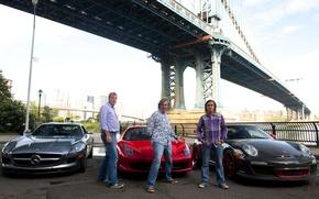 Обои мост, Mercedes-Benz, 911, Porsche, Jeremy Clarkson, Ferrari, мужики, 458, мужчины, AMG, SLS, GT3, top gear, ...