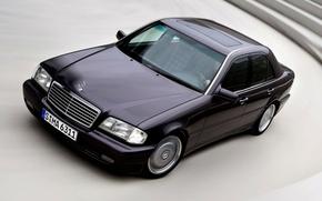 Обои мерселес, мерс, Mercedes-Benz, скорость, черный, дорога, автомобиль, фары, человек, водитель, машина, колеса, поворот, Mercedes