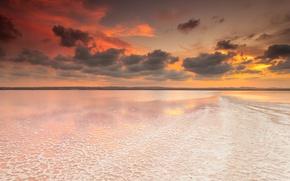 Картинка небо, тучи, рассвет, Spain, Valencia, соленое озеро, Salinas de Torrevieja