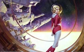 Картинка девушка, космос, космическая станция, звездолёт, Zezhou Chen