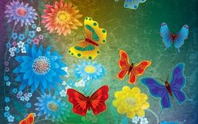 Обои abstract, grunge, butterflies, flowers, design, бабочки