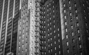 Картинка windows, USA, United States, black and white, building, America, b/w, United States of America, condos, ...