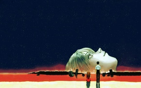 Картинка Звезды, евангелион, Ayanami Rei, Evangelion, Asuka Langley, Ночное небо, Ikari Shinji, The end of Evangelion