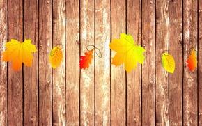 Картинка осень, листья, коллаж, доски, текстура