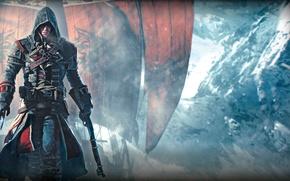 Картинка снег, оружие, корабль, лёд, руки, капюшон, Тамплиер, паруса, убийца, Ubisoft, Game, Шэй Патрик Кормак, Assassin's …