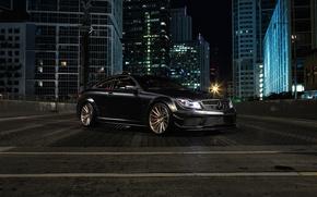 Картинка город, здания, Mercedes-Benz, black, AMG, front, C63, C-Klasse
