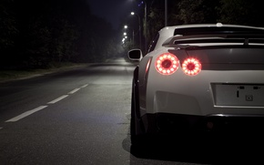 Картинка ночь, Nissan, GT-R