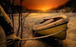 Картинка snow, горы, river, зима, landscape, sunset, trees, sky, река, лодка, снег, природа, деревья, winter, mountains, ...
