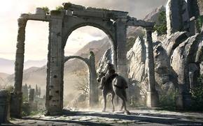 Обои Assassins Creed, ворота, всадник, руины