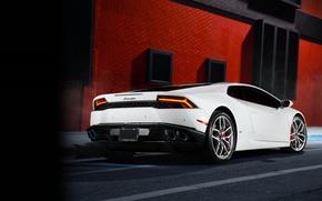Картинка Lamborghini, White, Smoke, Supercar, Rear, Huracan, LP610-4, Ligth