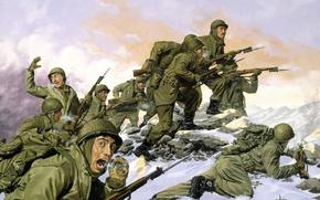 Картинка зима, война, американцы, бегут, южная корея, The Borinqueneers by Dominic D\'Andrea, South Korea -- February …