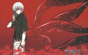 Обои монстр, маска, красные глаза, наручники, Tokyo Ghoul, Kaneki Ken