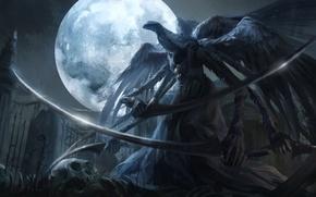 Обои оружие, арт, jlien-, луна, bloodborne, ночь, чудовище, mergos wet nurse, коса