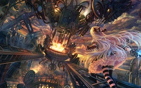 Обои оружие, шестерни, механизм, арт, аниме, девушка, soraizumi, меч, небо, облака