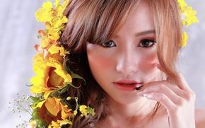 Картинка взгляд, цветы, лицо, волосы, макияж, азиатка, красотка