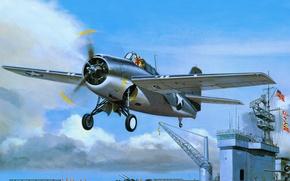 Картинка F4F, арт, палубный, Grumman, американский, вылет, истребитель-бомбардировщик, авианосец
