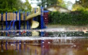 Картинка осень, макро, брызги, дождь, лужи, lucydphoto, детская площадка