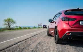 Картинка дорога, машина, пейзаж, вид, фонари, Mazda, стайлинг, styling, Mazda3, Axela, zoomzoom, WEDS Sport
