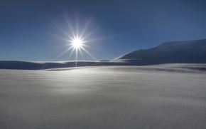 Картинка зима, солнце, лучи, снег, природа, фон, widescreen, обои, wallpaper, nature, широкоформатные, winter, background, snow, rays, …