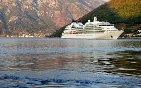 Картинка море, деревья, горы, побережье, дома, лайнер, Черногория, круизный