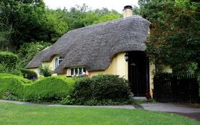 Картинка Англия, кусты, деревья, забор, дом, Holnicote, трава, дорожка, дизайн