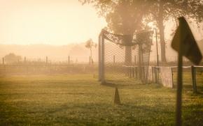 Обои туман, утро, поле, ворота