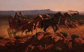 Картинка небо, пейзаж, горы, поезд, паровоз, картина, вагоны, лошади, карета, соревнование, John Leone, Сумерки Эры, Twilight ...