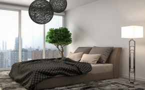 Обои жалюзи, окна, куст, дерево, декоративное, лампа, торшер, ковёр, покрывало, подушки, кровать, дизайн, спальня, комната