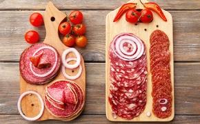 Обои салями, лук, pepper, помидор, колбаса, tomato, sausage, овощи, доска, перец