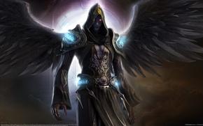 Картинка Крылья, Seok Chan Yoo, CG Wallpapers, Dark Angel, Врата, Темный Ангел