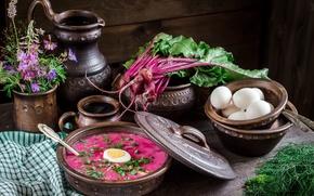 Обои укроп, цветы, натюрморт миски, свекла, свекольник, ботва, яйца, кувшин, суп