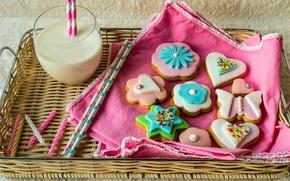 Обои цветы, flowers, milk, food, сердце, молоко, печенье, сладкое, глазурь, drink, star, frosting, shapes, cookies, звезда, ...