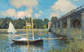 Обои пейзаж, лодка, картина, парус, Клод Моне, Мост в Аржантёе