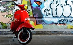 Картинка красный, ретро, стена, граффити, мопед, олдскул