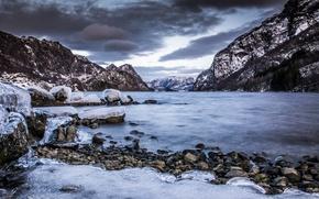 Картинка море, горы, камни, скалы, лёд
